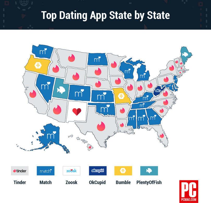 映射各州技术趋势:最受欢迎的约会应用