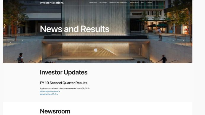 Apple通过Newsroom焦点 SEC电子邮件通知改革投资者关系网页