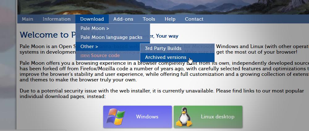 Pale Moon说黑客为旧浏览器版本添加了恶意软件