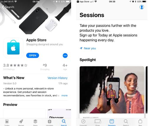Apple Store应用程序获得新的会话部分