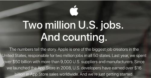 苹果发布新网页 强调美国创造就业机会