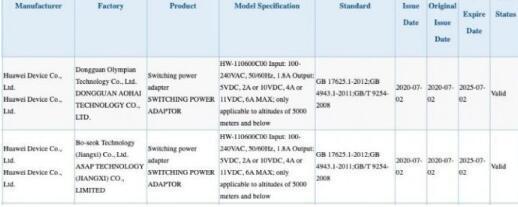 经3C认证的华为66W充电器可能随Mate 40一起提供