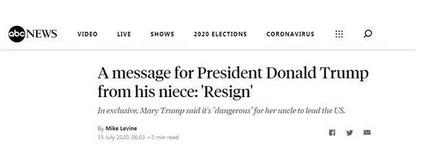 侄女建议辞职 表示完全没能力去领导美国