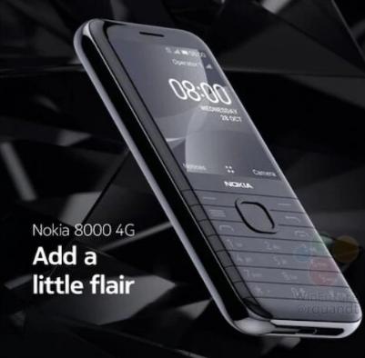 诺基亚8000 4G在泄漏的海报中显示为黑色