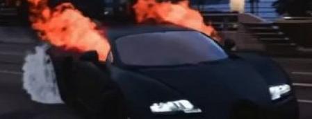 布加迪幽灵骑士驾驶着火看起来几乎是真实的这是威龙