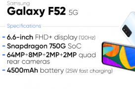 三星Galaxy F52 5G的价格定在22,700卢比左右