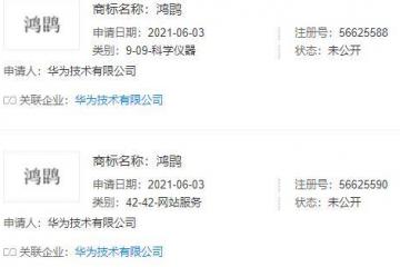 新闻:华为注册鸿鹍商标