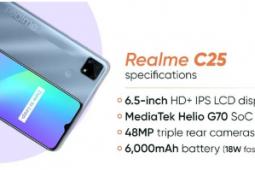 realme C25配备了一块6.5英寸IPS LCD显示屏
